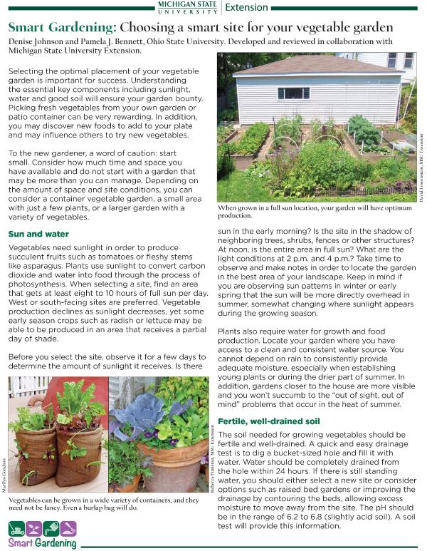 Smart Gardening Choosing A Smart Site For Your Vegetable Garden Gardening In Michigan