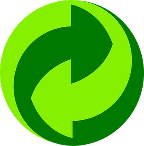 Two green arrows moving into each other. Representative of reduce, reuse, recycle.