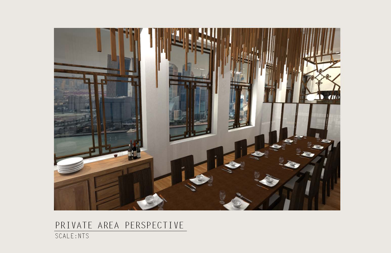 View 5: Perspective Rendering of the Private Dining Area