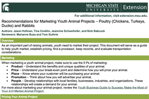 Recommendations for Marketing Youth Animal Projects – Poultry (Chickens, Turkeys, Ducks) and Rabbits