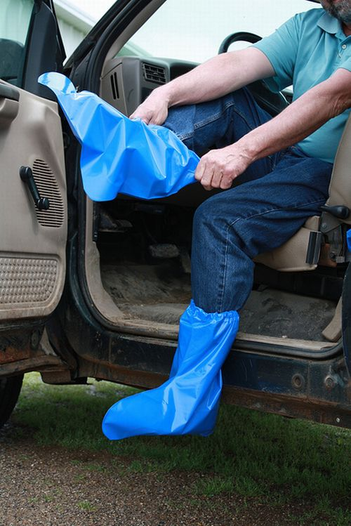 Disposable boots and gloves increase biosecurity at exhibition sites.