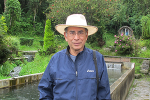 Photo of Professor Emeritus Rene Hinojosa at fish ponds in Bolivia.