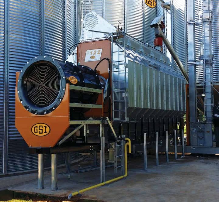 An example of the type of GSI grain dryer tour participants will see at the Grand Valley Farm energy efficiency tour Thursday, Aug. 17. (Photo by Alex Gumper)