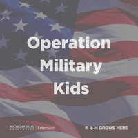 Operation Military Kids text over an American flag.