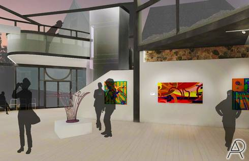 This rendered perspective by Alyssa Puryear features a view of the gallery.