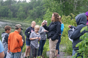 Youth at Fur, Fin and Feather camp explore wetlands.