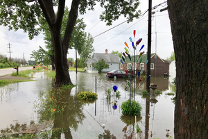 Flooded houses are shown in Bangor Township. Photo: Kip Cronk | Michigan Sea Grant