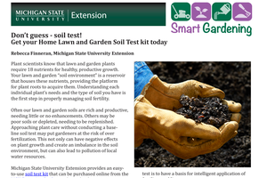 Don't guess - soil test! Get your Home Lawn and Garden Soil Test kit today