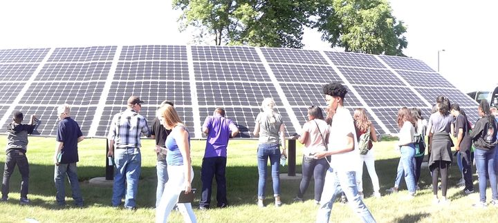 4-H Renewable Energy Camp participants visiting the solar array at HomeWorks Tri County Electric Coop. Photo by Jan Brinn, MSU Extension.