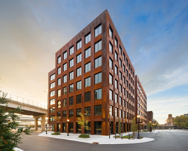 This photo shows the T3 Building in Minneapolis was constructed using cross-laminated timber, or CLT.