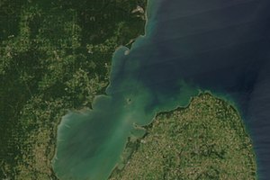 Satellite image of Saginaw Bay courtesy Jeff Schmaltz, MODIS Land Response Team NASA