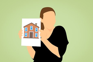 A cartoon woman holding up a picture of a house