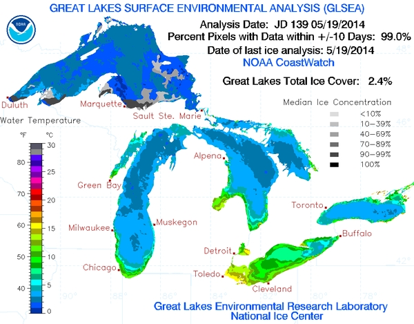 It might be surprising to know that as of May 19, approximately 2.4 percent of the Great Lakes were still covered by ice. Photo credit: Great Lakes Environmental Research Laboratory (GLERL).