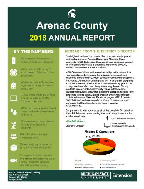 Cover of Arenac County Annual Report 2018