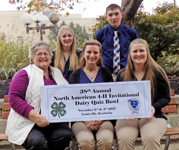 The Michigan 4-H team ready to compete in Louisville. Top, from left: Katrina Tucker and Casey Ybema. Bottom, from left: Coach Bev Berens, Shannon Good and Ann Wehler. Photo by University of Kentucky.