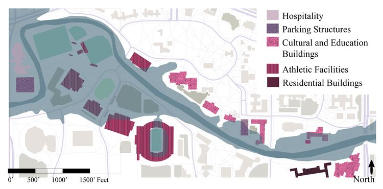 A map of the buildings and flood plan near the Red Cedar River at Michigan State University