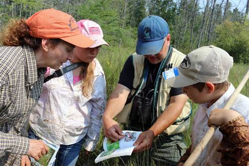 Alcona County 4-H Youth help hunt for invasive species while mapping potential habitat for the endangered Hines Emerald Dragonfly at Negwegon State Park. Photo credit: Michigan Sea Grant