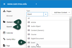This image shows the dotCMS content dashboard with Type drop down menu showing the different content types that can be selected, such as Events.