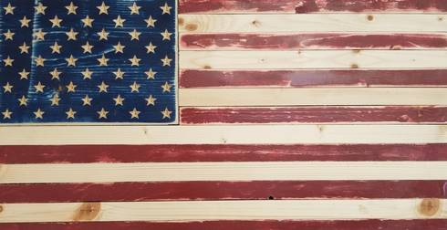 American Flag created out of wood