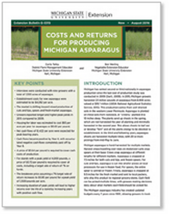 Costs and Returns for Producing Michigan Asparagus (E3315) - MSU