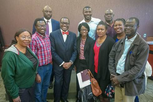 Visiting Nigerian faculty members pose with Dr. Akin Adesina and AFRE's Saweda Liverpool-Tasie at Adesina's public event at MSU.