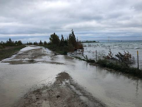 Lake Michigan's high water levels are seen in 2019 at Point La Barbe in St Ignace. Photo: Elliot Nelson, Michigan Sea Grant