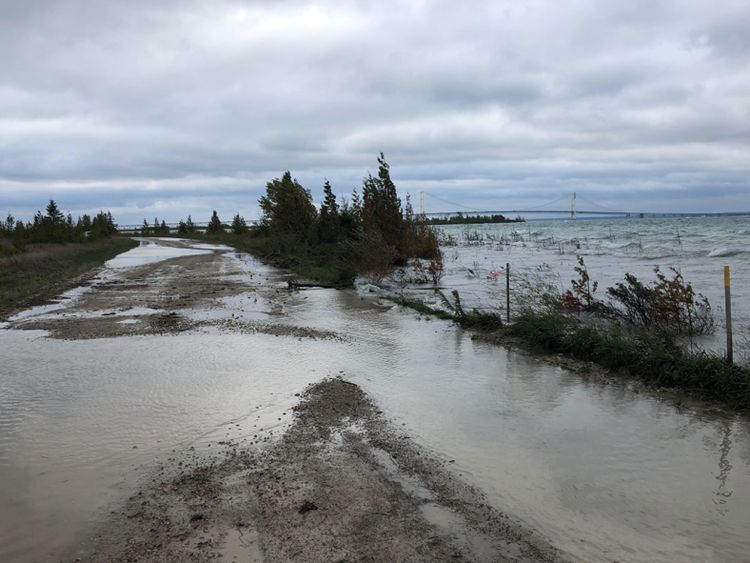 High lake levels flood Boulevard Road along the straits of Mackinac in September 2019.