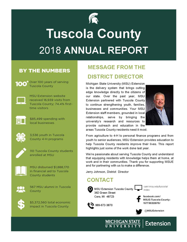 Picture of cover of Tuscola  County  2018 Annual Report