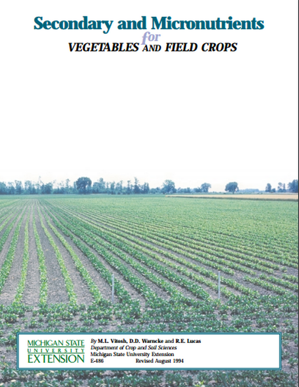 Secondary and Micro-nutrients for Vegetable and Field Crops