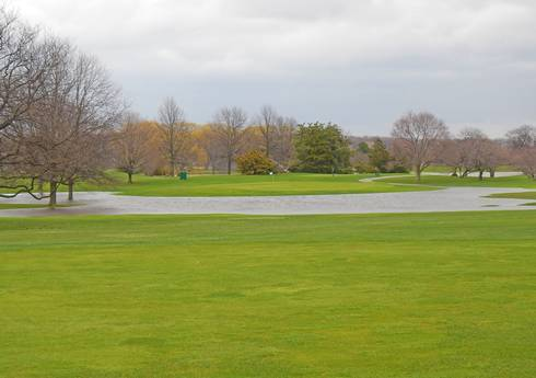 Flooding at this golf course created new island greens. All photos: Kevin Frank, MSU