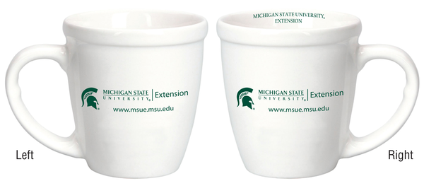 White mug with MSU Extension logo on both sides.