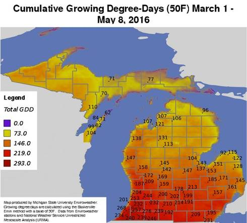 Accumulated degree days (base 50 F) for March 1 through May 8, 2016, using the new format version (2016).