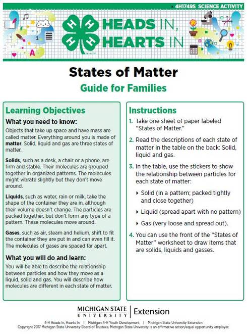 States of Matter cover page.