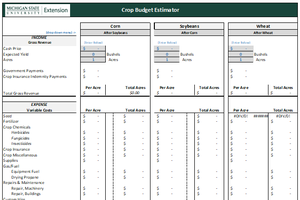 Crop Budget Estimator Tool for Grains (Detailed)