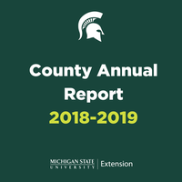 Green square with County Annual Report title and Spartan Helmet.