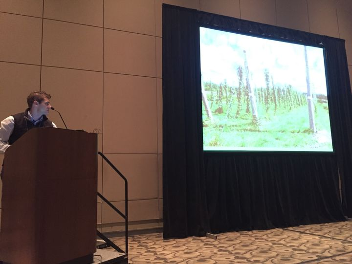 Evan Elford, New Crop Development Specialist from the Ontario Ministry of Agriculture Food and Rural Affairs, addresses over 125 attendees at the Great Lakes EXPO in Grand Rapids, MI.