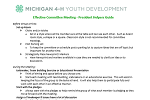 Effective Committee Meeting - President Helpers Guide