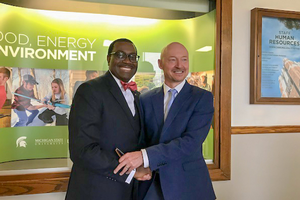 Thom Jayne with President of the African Development Bank, Dr. Akin Adesina