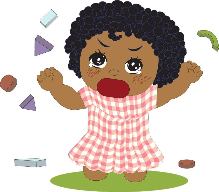 Clipart of a young girl crying
