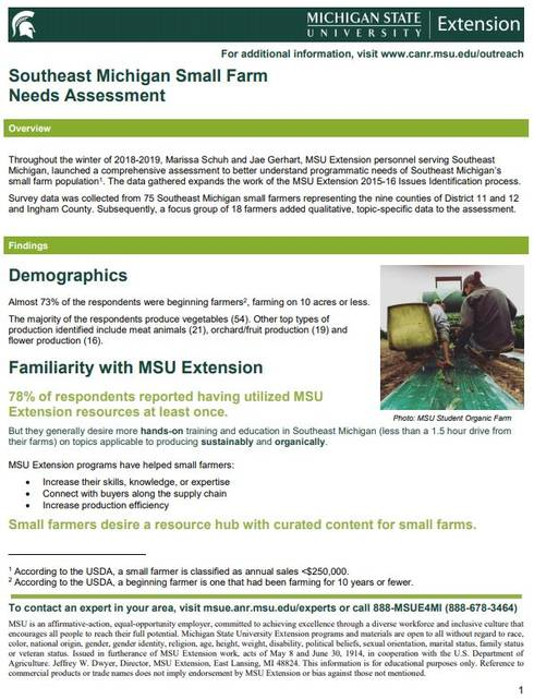 Southeast Michigan Small Farm Needs Assessment cover page.