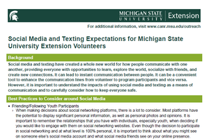 Social Media and Texting Expectations for Michigan State University Extension Volunteers