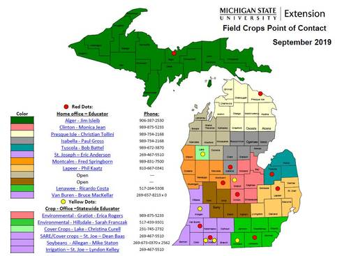 snapshot of a map of Michigan with color coded sections depicting field crop educator coverage areas