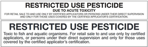 Photo 1. Examples of restricted use pesticide label notifications.