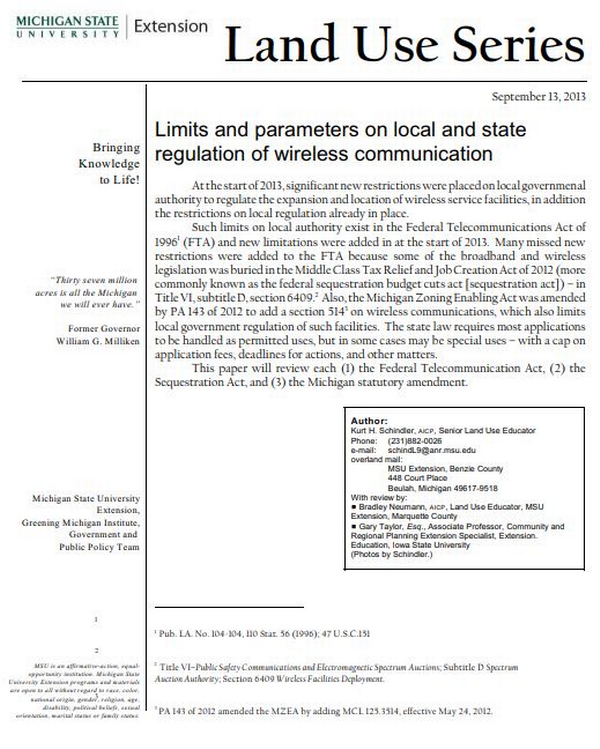 Limits and parameters on local and state regulation of wireless communication cover.