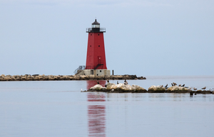 Lighthouse on Lake Michigan.