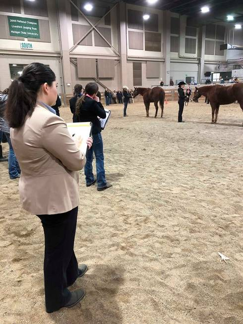 A Michigan 4-H horse judging contestant takes notes on a halter class.