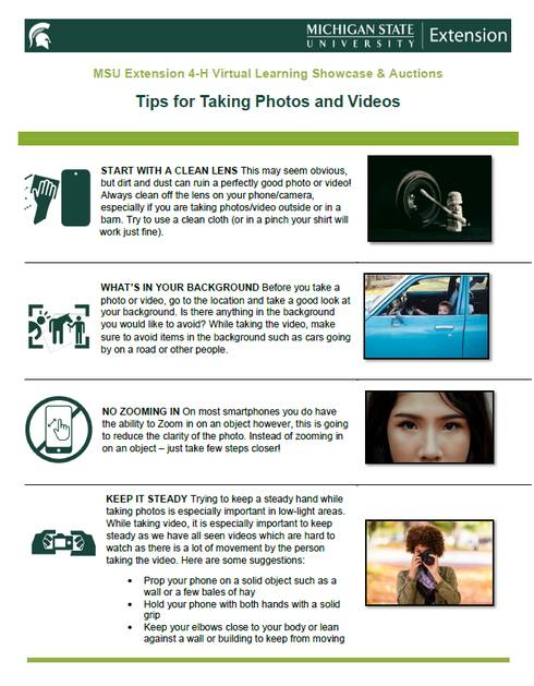 Snapshot of the Tips for Taking Photos and Video document.