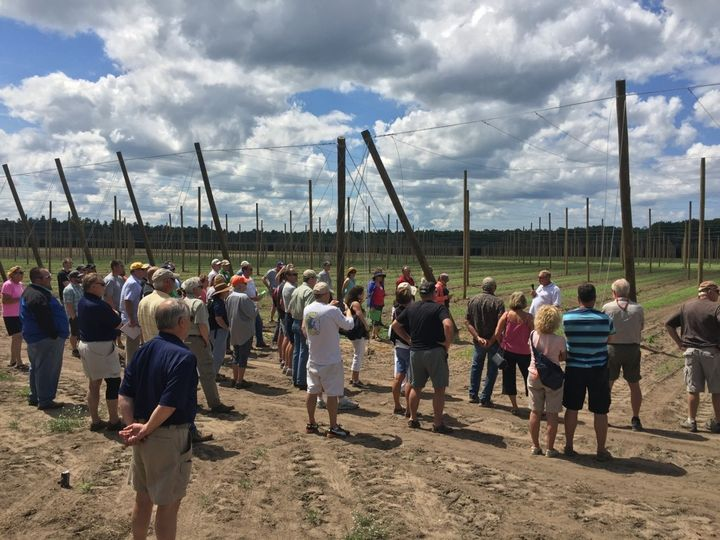2016 tour participants visit one of Michigan's newest hop farms.