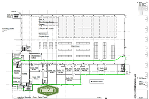 Blueprints of the Grand Traverse Food Innovation Hub in Traverse City, Mich.