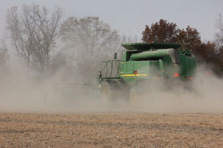 Dust and plant residue from harvest can lead to combine fires. Photo: Katie Thelen.